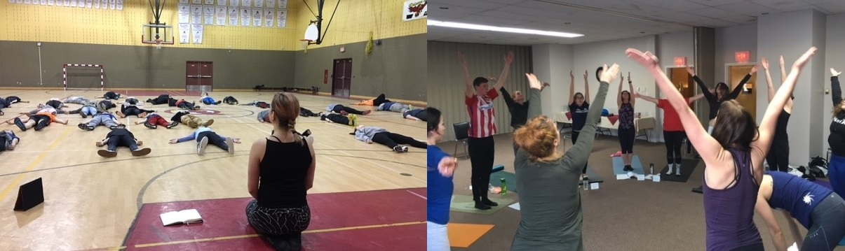 Junior high students learn relaxation techniques (L) and Labrador teachers practising yoga (R)