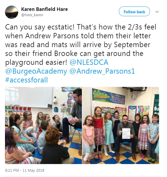 Ms. Banfield Hare's Twitter feed told of the student's excitement when they found out they had received approval.