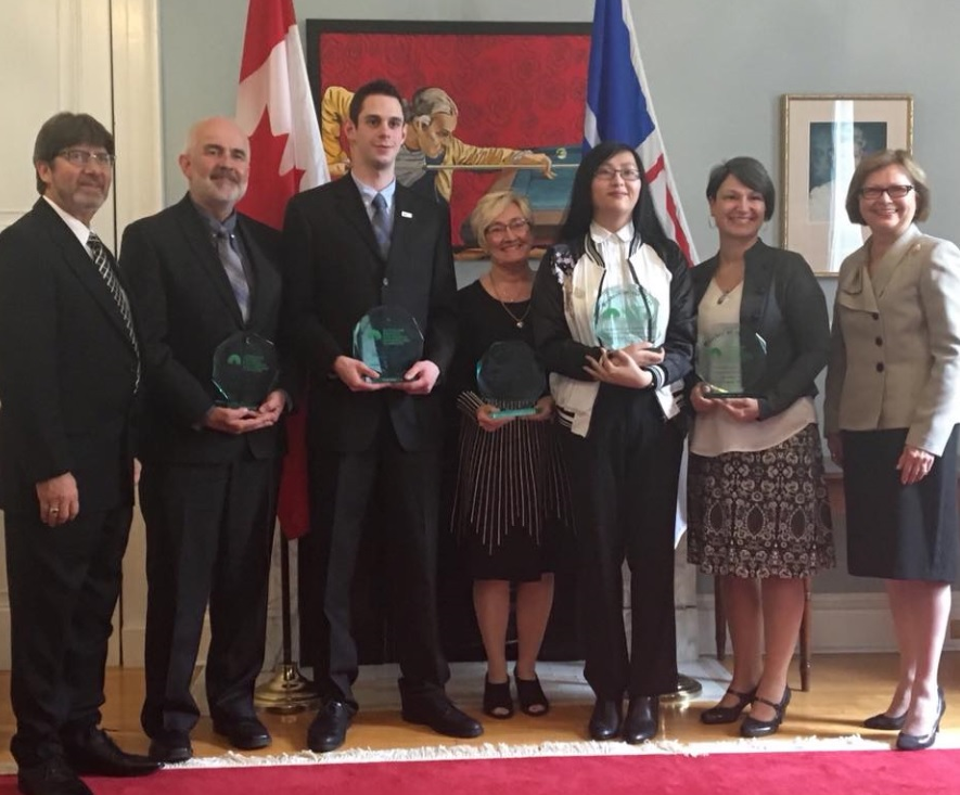(L to R: His Honour Harold Foote, James Butler accepting for wife Gail Butler; Kieran Roach; Paula Luby-Coughlan, Volunteer of the Year; Justine Yick; Judy Benson; Lieutenant Governor Judy Foote)