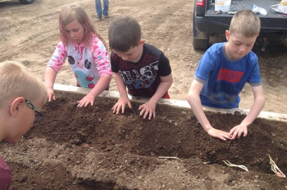 Students (L to R) Jack Burt, Emma Green, Gavin King and Carter Burton planted some potatoes in the community garden box (Photo credit: Valmont Academy)